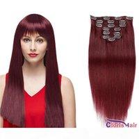 # 99J 머리 확장에 부르고뉴 스트레이트 클립 두꺼운 끝 70g 100g 와인 레드 원시 인도 레미 인간의 머리카락 흑인 여성용