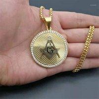 Ciondolo collane in acciaio inox simbolo massonico collana di fremagsone uomo hip hop ghiacciato religione monili di moda Drop1