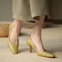 2020 en mujer de cuero de mujer de cuero de tacón alto de cuero con punta de boda punteada tacones delgados para zapatos de mujer Tamaño 34-39 7aci