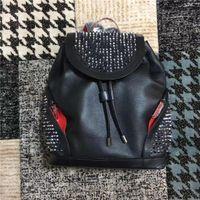 Bolsos de cuero reales Hombres de alta calidad Mujeres Escuela Mochila Famosa Remache Redbottom Mochila Diseñador Lady Bags Boy Girl Pack Back Pack
