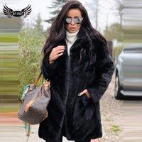 Kadın Kürk Faux BFFUR 2021 kadın Gerçek Ceket Tam Pelt Hakiki Mont Cep Kış Doğal Kadınlar Lüks Ceket1