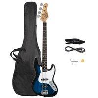 Glassy elettrico Gjazz Bass Chitarra Chiave per chitarra Attrezzo Blu con Borsa Guitar Strap AMP Filo per principianti