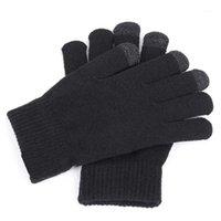 خمسة أصابع قفازات النساء الرجال أزياء الشتاء لينة الدافئة محبوك لمس الشاشة الحرارية القفاز 1