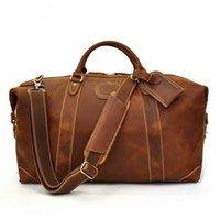 Maheu Подлинная сумасшедшая кожаные кожаные мужчины путешествия сумки с заклепкой большая сумочка для мужской коровьей сумасшедшей сумка мужские, путешествующие сумка LJ201222