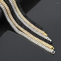 Chains MCSAYS Hip Hop Jewelry Tennis Chain Necklace CZ 2 Rows Crystal Bling Black  Gold  Silver Color For Men Fashion Gifts 4GM1
