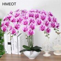9 Head Real Touch PU Latex Phalaenopsis Искусственный цветок Орхидея Дом Декор Спальня Горшечные растения DIY Свадебный материал Оптовая продажа 1