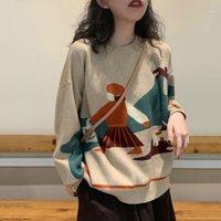 Корейский мультфильм узор женский пуловеры Harajuku негабаритные с длинным рукавом sehere mujer мода осень o-шеи свитер стрит
