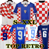 Retrô 1998 Croácia Suker Jersey Soccer Home Away Jersey Camisas 2002 Croatia Stanic Prosinecki Boban Bilic Jarni