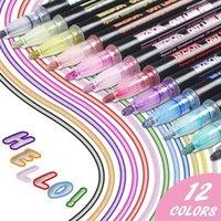 12 색 금속 반짝이 다채로운 컬러 개요 마커 Kawaii 아트 마커 더블 라인 펜 학교 용품 아트 펜 201126