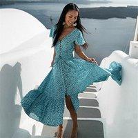Teelynn Seksi Backless Maxi Elbise Yaz Pamuk Mavi Çiçek Baskı Elbise Plaj V Boyun Vestidos Rahat Boho Kadın Elbiseler Robe T200620
