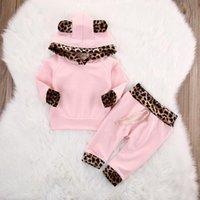 Neonate di colore rosa 2 pc che coprono l'insieme della stampa del leopardo delle parti superiori con cappuccio, abiti a maniche lunghe bambino + pantaloni Set abbigliamento per bambini Abbigliamento Designer