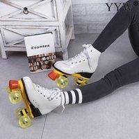 Kuhfell Roller Skates Double Line 4 Räder Pu Skating-Schuhe Männer Frauen Erwachsener Sliding Inline Skates für Kinder Geschenk-Turnschuhe