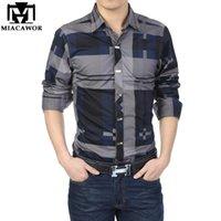 Miacawor Брендовая рубашка мужчины 100% хлопок повседневные рубашки Slim Fit Мужская клетчатая рубашка с длинными рукавами Camisa Hombre Camisa Masculina C006 201123