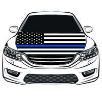 Thin Blue Line USA Nationalflagge Auto Hood Abdeckung 3.3x5ft 100% Polyester, Motor elastische Stoffe können gewaschen werden