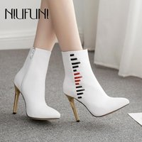 NIUFUNI PU Leather Zipper Pointed Toe Fashion Women Snowshoes Boots White Stiletto High Heels Autumn Winter Women Ankle Boots
