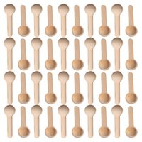 50pcs Mini Nature Colheres de madeira Home Kitchen Cooking Spoons Ferramenta Scooper Sal Tempero mel de café Colheres de madeira