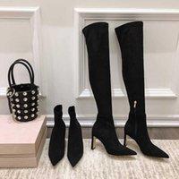 Heiße verkauf schuhe frauen winter knie hoch und mittel kalb nähen frauen boots kind wildleder super high heels stiefel zapatos de mujer1