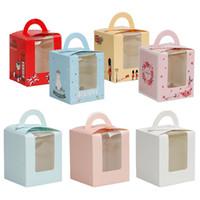 9.5 * 9.5 * 11cm clásico caramelo de la caja de papel de colores / Solo modelo de la magdalena de embalaje Caja con base interior 100pcs / lot libera el envío