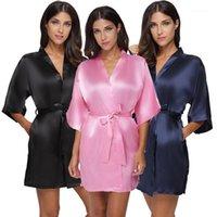 Women's Sleepwear Plus Taille Satin Satin de Femme Kimono Robe Sexy Short Silk Mariée De La soie Robe de mariée Femme Noir Black Peignoir Nuit