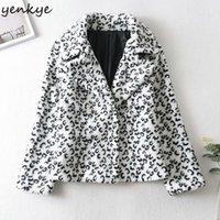 Kadın Ceketler Yenkye Moda Kadınlar Lambswool Leopar Ceket Kadın Uzun Kollu Yaka Yaka Artı Boyutu Giyim Kış Coat Chaqueta Tops1