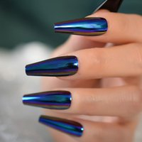 Falska naglar Super Long Holo Blue Purple Fake Coffin Mirror Chrome Press på Ballerina Acrylic Cosplay Party Salon Tips