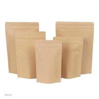 11 Dimensioni Brown Kraft Paper Bags Stand-up Bags Calore Sealeabile Custodia richiudibile Zip Zip Stringaio Immobile Borsa da imballaggio Sacchetto di imballaggio con lacrime DBC CGODW