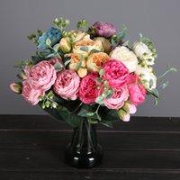 Bouquet peonia fiori artificiali rosa rosa seta sposa di seta decorazione della casa decorazione finto fiorisce faux regali di giorno di San Valentino WQ593