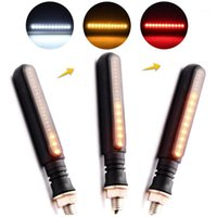 Luzes de emergência 2pcs Universal Flug Water Flicker LED Motocicleta Transformar indicadores de sinal Blinkers Flexible Bendable Luz de luz Amber # 2904