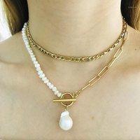 2020 nuova collana barocca naturale perla d'acqua dolce perla donna in acciaio inox collana multistrato collana di fascino gioielli gratis matchin1