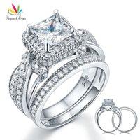 Peacock Yıldız Katı 925 Gümüş evlilik yıldönümü nişan yüzüğü Seti Vintage Stil Prenses CFR8234 201112