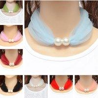 Sciarpa di stile della collana di modo Primavera Autunno Autunno Sottile Sciarpe di seta Grenadine Anello del collo del pizzo con le donne perla Bella sciarpa del collo 14 colori regalo