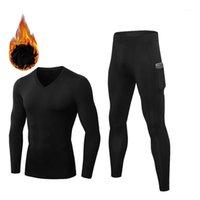Мужское тепловое белье для мужчин Зимний быстрый сушка Мужская Термовая одежда Длинные Johns Устанавливает компрессионный флис пот нижнее белье1
