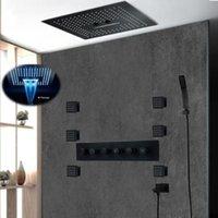 Matt Black Shower Conjunto Completo 400x400mm remoto LED Controle de teto Rain Shower Torneiras Head Set Cachoeira banho com jatos de massagem corporal