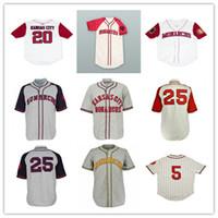 Hombres Vintage 1942 KC Monarchs Baseball 25 Satchel Paige Jackie 5 Robinson Negro League Steinsed Jersey Barato