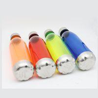 750 ml Spor Su Şişeleri Kola Şişe Şekli Tritan Paslanmaz Çelik Sızdırmaz Ile Toksik Olmayan Plastik Kullanımlık Şişesi Kapalı CA 42 G2