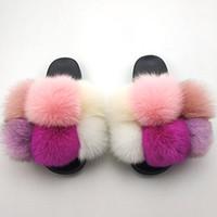 Diapositivas peludas para las mujeres Summer Slippy Slippers House Women Big Fur Sandals Sandalias Fashion Damas Interior Flip Flops con Pompon