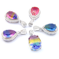 Mix 5PCS do arco-íris New Luckyshine presente 925 prata Lady Partido clássico Teardrop Colorido Bi-Colored Tourmaline Colares Para