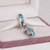 Tropical Seahorse Dangle Charm Beads Fits European Bracelet 925 Sterling Silver Teal Green Crystal Animal Bead DIY Fine Jewelryps2435
