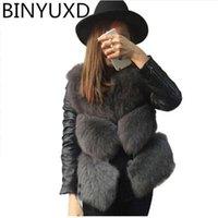 Women Winter Warm Faux Fur Jackets Coat 2020 Fashion Patchwork PU Leather Jackets High Quality faux fur coat women vest