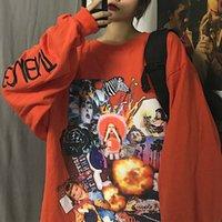 Felpa Hip Hop Houzhou donna autunno moda stile coreano con cappuccio allentato donne streetwear harajuku stampa manica lunga top LJ201102