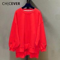 Chicever Spring Вышивка женская Толстовка для женщин Топ Пуловеры Batwing Рукав свободно Большой размер Толстовка одежда Новый 201106