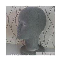 Versand Großhandel Weibliche Strömungsschaum aus Gläsern Männchen Mannequin Kopf Perücken Hüte Gläser Kopfhöreranzeige Modell Stand Grau 1 stück B613 3UJYC