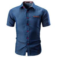 LNCDIS Casual Slim Fit Denim Chemise Hommes Summer Street Streetwear Blouse Blouse Homme Haute Qualité Coton Social Shirts A5