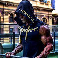 Gympxinran para hombre de algodón Sudadera con capucha Sudaderas Fitness Ropa de fitness Culturismo Tank Top Hombres Sin mangas Tendencia Camiseta Casual Chaleco T200409