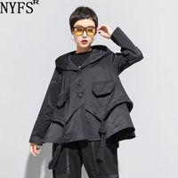 NYFS Yeni Sonbahar Kadın Kapşonlu Ceket Gevşek Moda Cebi Bel Ceket 201127