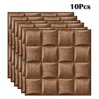 10 pz / 20pcs imitazione grano legno grano 3d adesivo da parete piastrelle autoadesiva cucina impermeabile bagno home decor accessori 201201