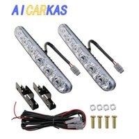AICARKAS автомобиля противотуманные фары DRL 6 LED High / Low Beam 12 Вольт LED Авто дневного света Полоски вождения лампы Универсальный Fit 2 PCS