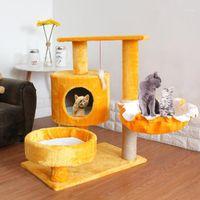 Мебель кошка Цапинс ПЭТ Цапир Вал Башня Восхождение Положка Доска Sisal Прыгая Платформа Play House Cats царапание Посты Toy1