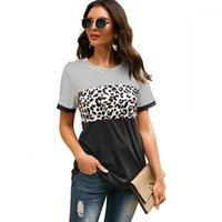 Frauen T-Shirt Sommer Tops für Frauen 2021 Mode Kurzarm Leopard Print Frau T-shirts Farbblock Gestreifte Gepard T-Shirts Ladys Tu