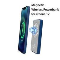 Sıcak satış 5000 mah açık taşınabilir mini powerbank iphone 12 ile manyetik kablosuz şarj cihazı ile cep telefonu tutucu şarj edilebilir ücretsiz shiping